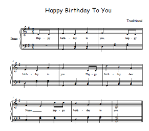 Happy birthday free sheetmusic for all instruments and voice.