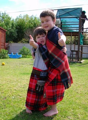 My boys dressed in Scottish gear