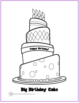 Free to Print Birthday Cake Coloring Page