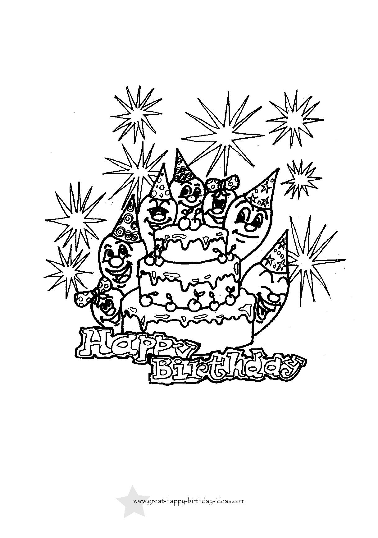 Printable Birthday Coloring Pages – Birthday Coloring Cards