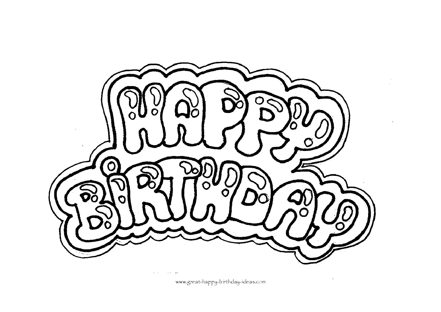 photo relating to Printable Happy Birthday Coloring Pages named Content Birthday Coloring Letters - No cost Print Out and Movie