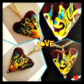 Glass bead hearts by Rakel Kohen
