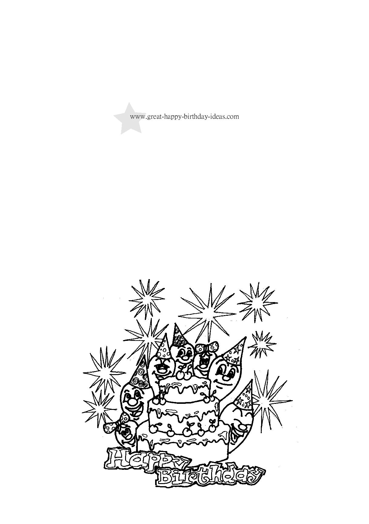 Birthday Coloring Cards Download