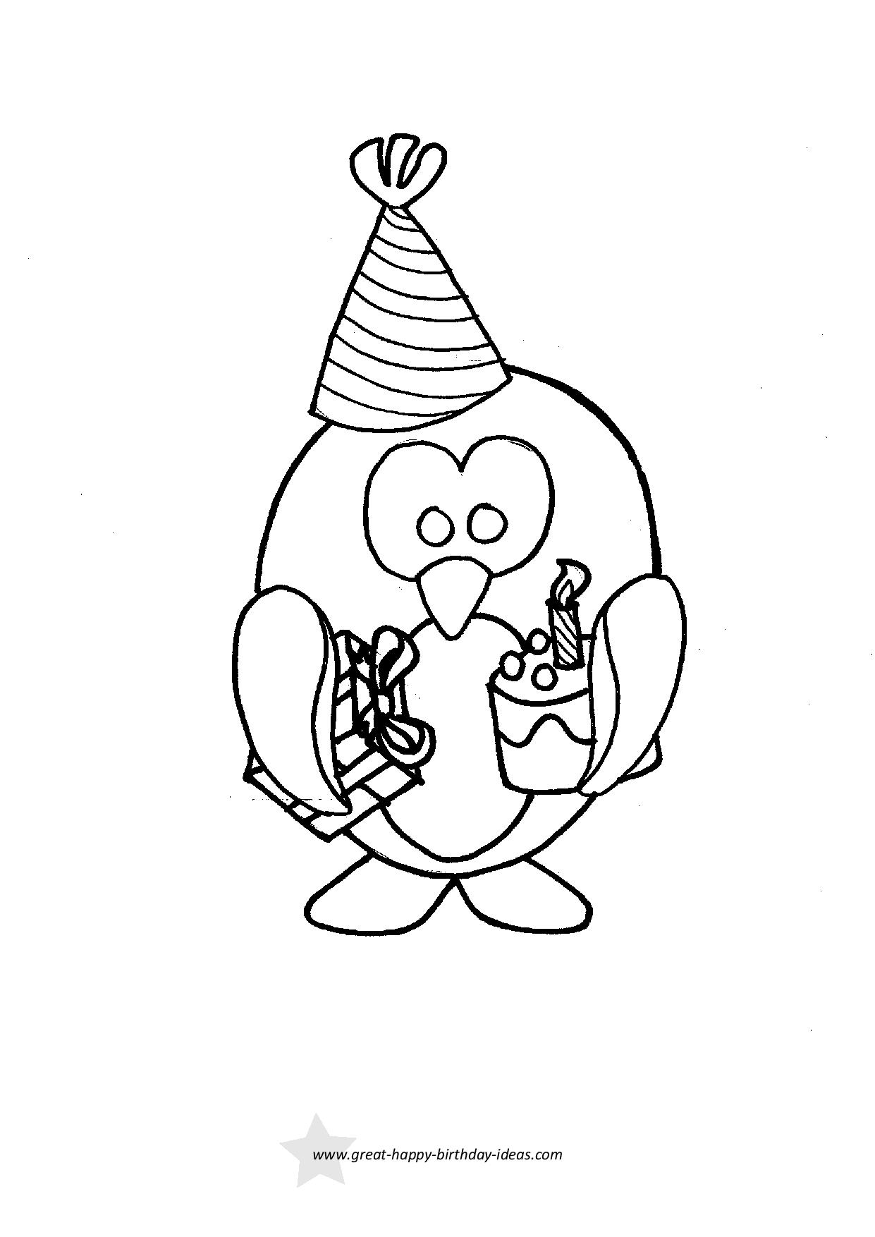 Birthday Penguin Coloring Page
